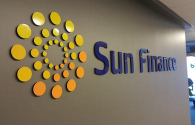 SunFinance logo acril Ceros.LV